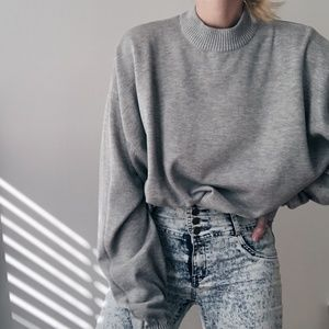 Vintage Ash Relaxed Mock Neck Knit Pullover